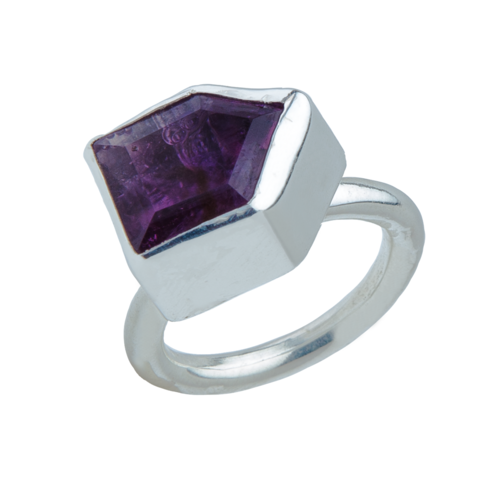 Faceted amethyst cocktail ring