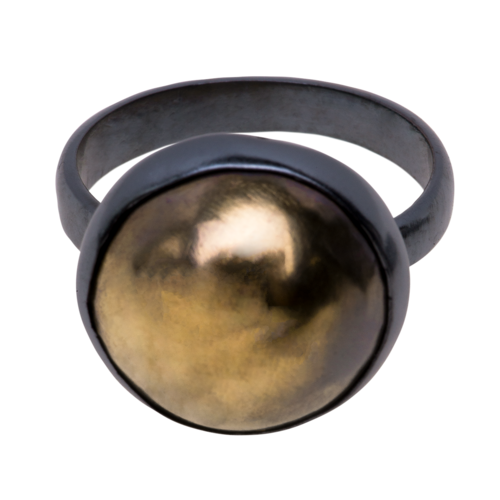 22k Gold Hollow Bezel Ring