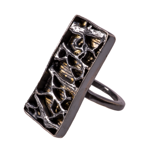 Glossy black silver & 24k gold kuem boo cast cactus cocktail ring