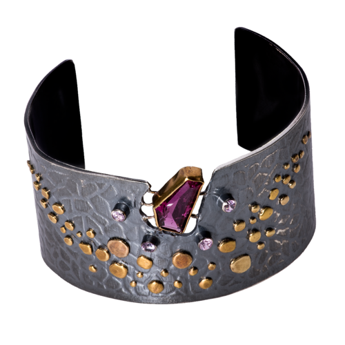 24k gold cuff with pink tourmaline and pink sapphires