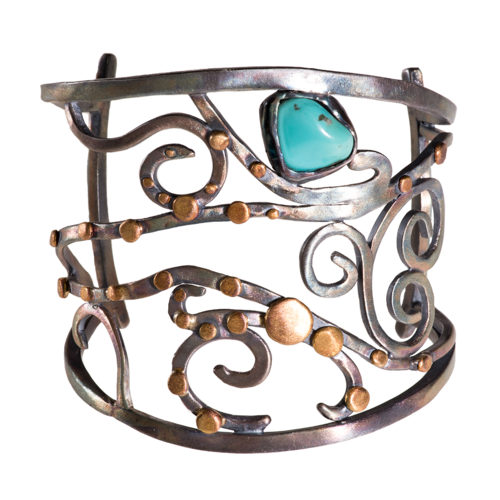 Black Silver Cuff with Turquoise Nugget and 24K Gold