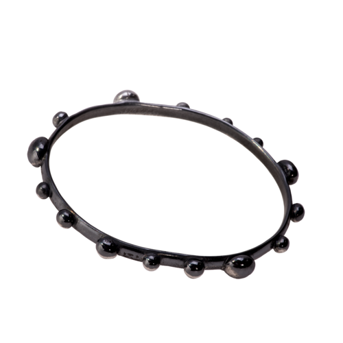 Glossy black studded bangle