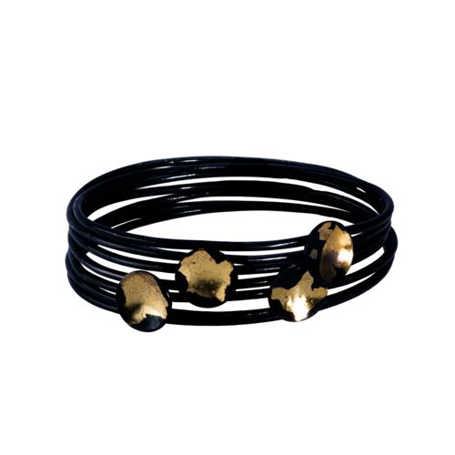 Glossy Black Silver & 24k Gold Kuem Boo Stacking Bangle Set