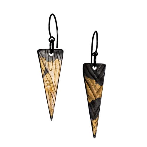 Glossy Black Silver & 24k Gold Kuem Boo Spike Earrings