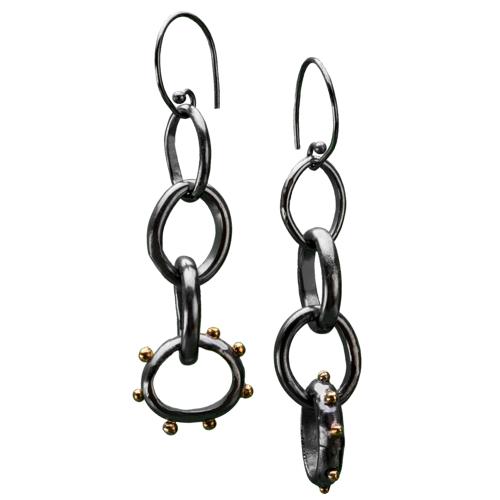 Black Silver & 24k Gold Studded Earrings<