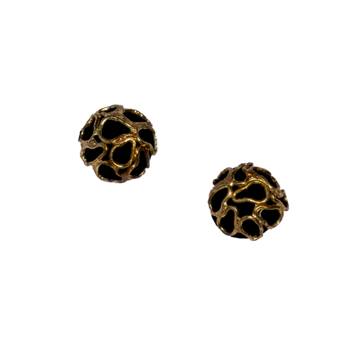 Glossy black silver & 22k hollow stud earrings