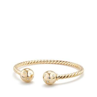 Solari Bead Bracelet with Diamonds in 18K Gold