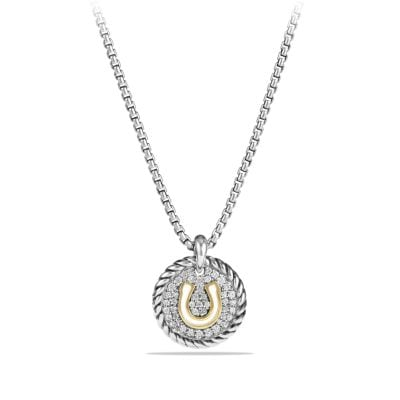 Petite Pave Horseshoe Charm Necklace with Diamonds and 18K Gold