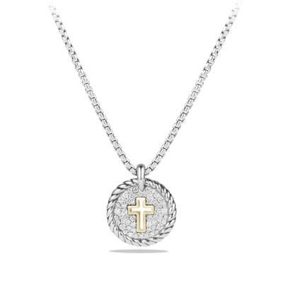 Petite Pave Cross Charm Necklace with Diamonds with 18K Gold