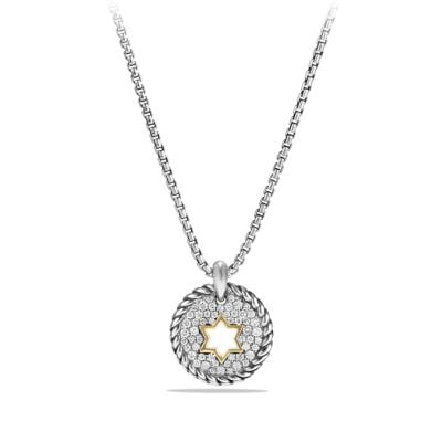 Petite Pave Star of David Charm Necklace with Diamonds and 18K Gold