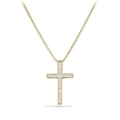Petite Pavé Cross Necklace with Diamonds in 18K Gold