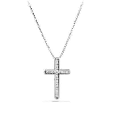 Petite Pavé Cross Necklace with Diamonds
