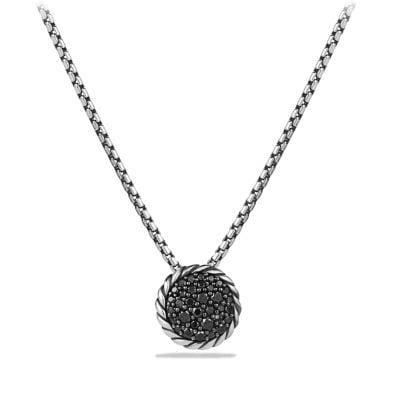 Petite Pavé Pendant Necklace with Black Diamonds
