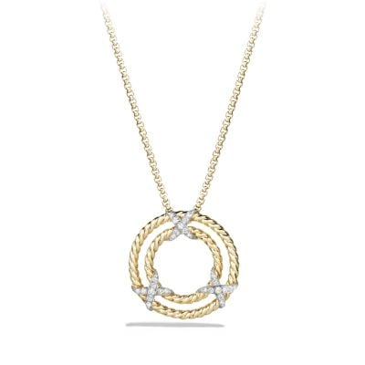 X Circle Pendant Necklace with Diamonds in 18K Gold