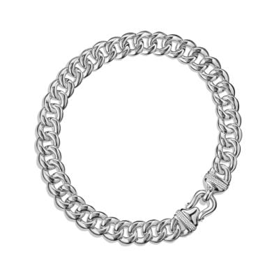 cable buckle chain necklace with diamonds
