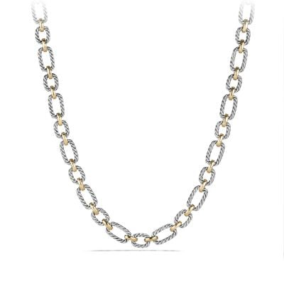 Cushion Link Necklace with Blue Sapphires and 18K Gold, 9.5mm