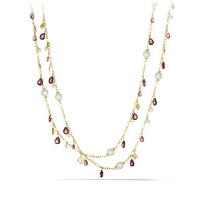 Bijoux Bead Necklace with Peach Pearls and Garnet in 18K Gold