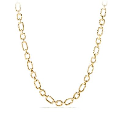 Cushion Link Necklace with Diamonds in 18K Gold, 9.5mm