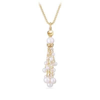 Oceanica Pearl Fringe Tassel Pendant in 18K Gold