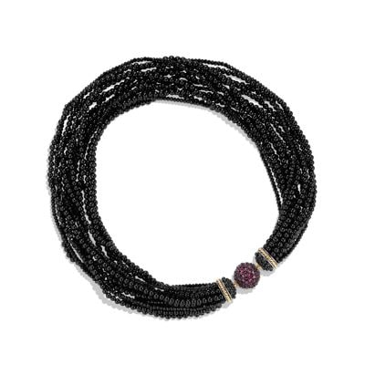 Osetra Statement Necklace with Rhodalite Garnet, Black Onyx and 18K Gold
