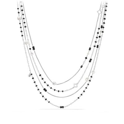 Oceanica Two-Row Chain Necklace with Pearls and Black Spinel