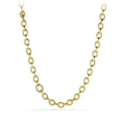 Large Oval Link Necklace with Diamonds in 18K Gold