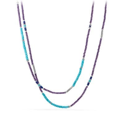 Tweejoux® Bead Necklace in Amethyst, Turquoise, and Lapis Lazuli