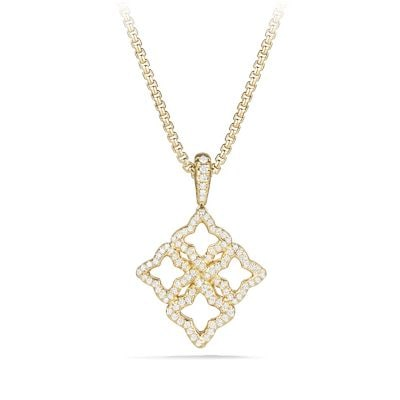 Venetian Quatrefoil Pendant Necklace with Diamonds in 18K Gold