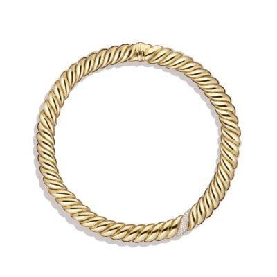 Hampton Cable Necklace with Diamonds in 18K Gold