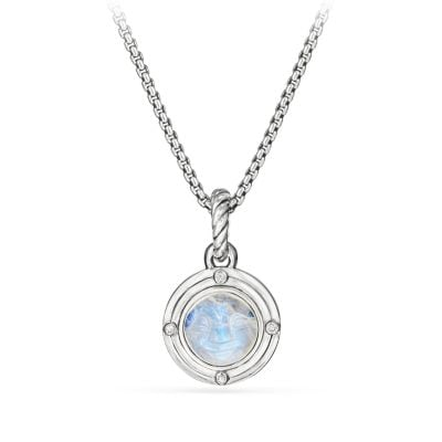 Moon Amulet in Rainbow Moonstone with Diamonds