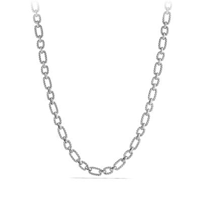 Cushion Link Necklace with Blue Sapphires, 9.5mm