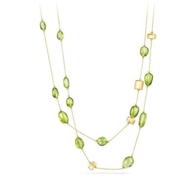 DY Signature Bead Necklace with Peridot in 18K Gold
