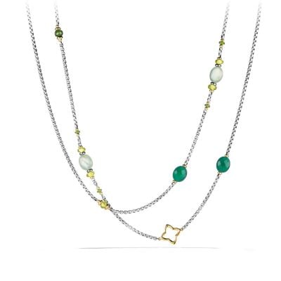 Bijoux Bead Necklace with Prenite, Green Onyx, Peridot and 18K Gold