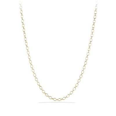Oval and Cable Link Chain Necklace in 18K Gold
