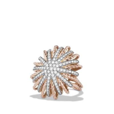Starburst Ring with Diamonds in Rose Gold