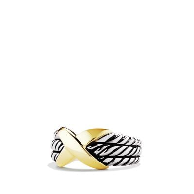 X Triple-Row Ring with 14K Gold
