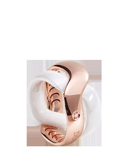White ceramic and pink gold diamond ring