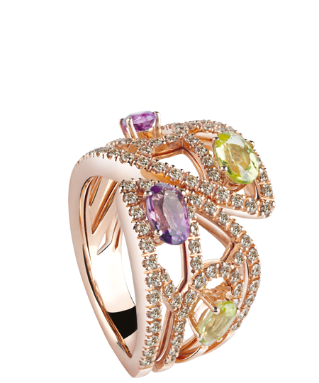 Pink gold ring with brown diamonds, amethyst and peridot