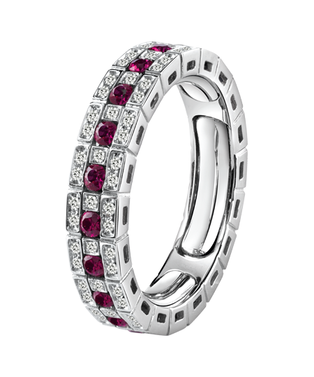 White gold, diamonds and rubies Eternal Comfort ring
