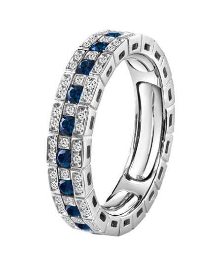 White gold, diamonds and sapphires eternal comfort ring
