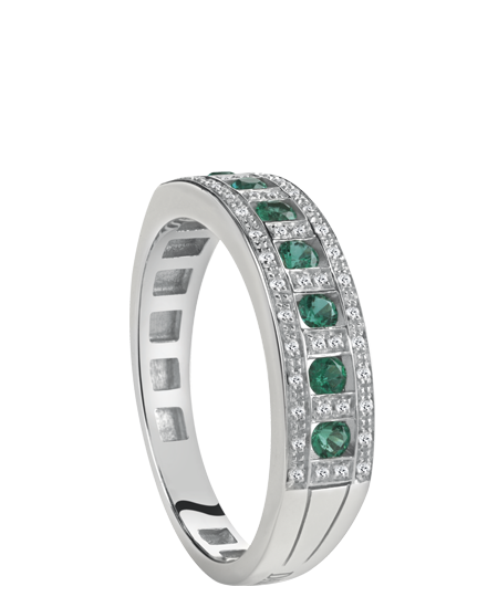 White gold, diamond and emerald ring