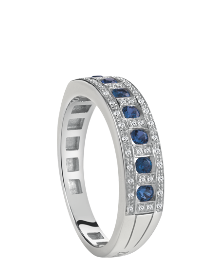 white gold, diamond and sapphire ring