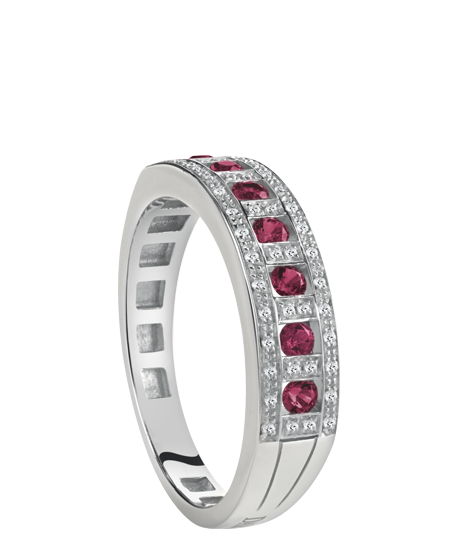 white gold, diamonds and rubies ring