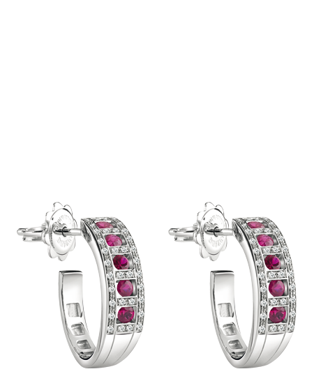 White gold, diamonds and rubies earrings