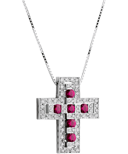 White gold, diamond and ruby cross necklace