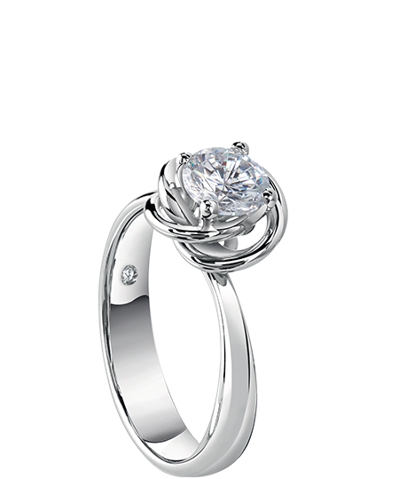 Bocciolo – white gold solitaire ring