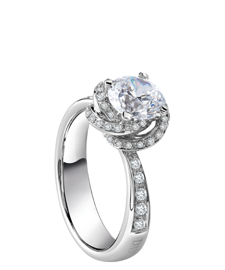 White gold solitaire ring bocciolo full pavé