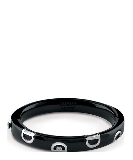 Black ceramic and white gold with diamond bracelet