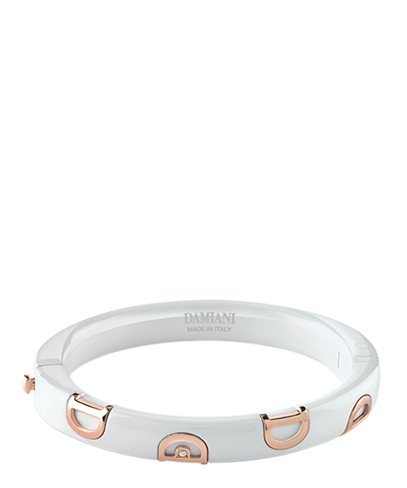 White ceramic and pink gold with diamond bracelet