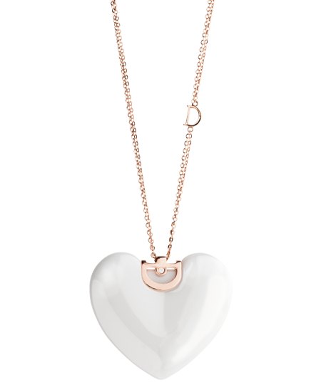 White ceramic, pink gold and diamond heart necklace